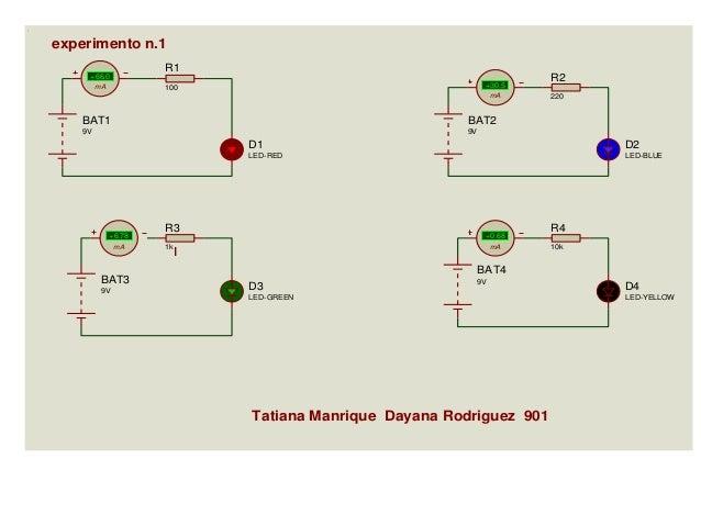 experimento n.1 R1  +66.0 mA  +30.5  100  mA  BAT1  220  BAT2  9V  R2  9V  D1  +6.78 mA  BAT3 9V  D2  LED-RED  LED-BLUE  R...