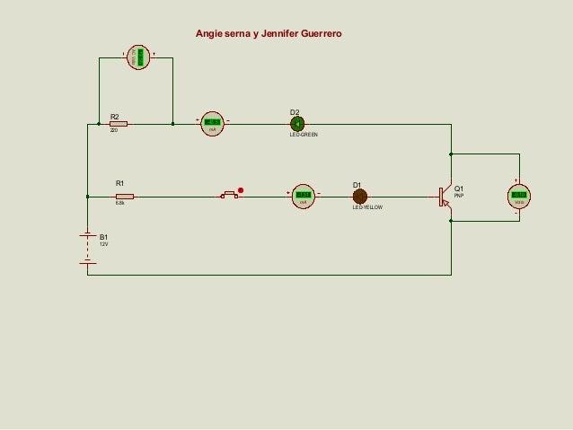 Angie serna y Jennifer Guerrero  220  +9.56  AC Volts  R2  D2 -43.5 mA  LED-GREEN  R1  D1 -1.31  6.8k  B1 12V  mA  Q1 PNP ...