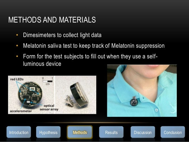 METHODS AND MATERIALS• Dimesimeters to collect light data• Melatonin saliva test to keep track of Melatonin suppression• F...