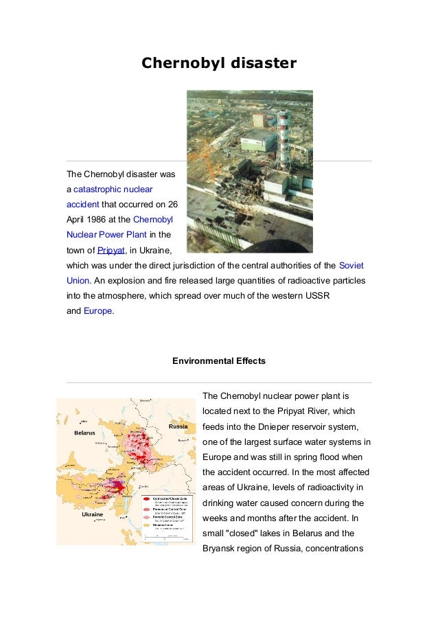 Chernobyl disaster The Chernobyl disaster was a catastrophic nuclear accident that occurred on 26 April 1986 at the Cherno...