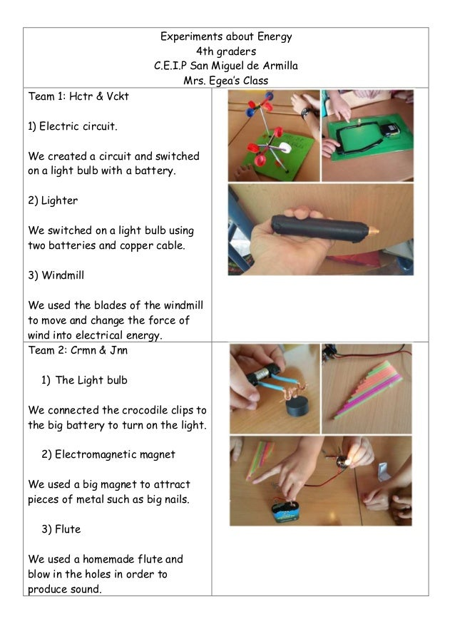 Experiments about energy