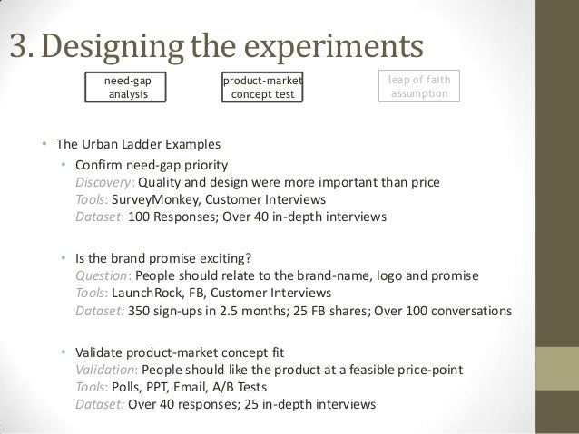 3. Designing the experiments need-gap analysis  product-market concept test  leap of faith assumption  • The Urban Ladder ...