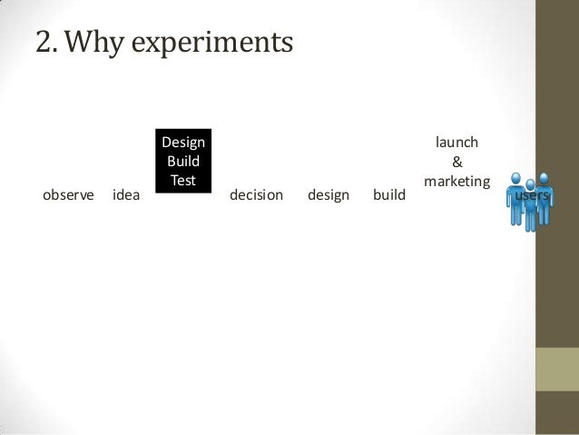 2. Why experiments  observe  idea  Design analyze Build & Test present  decision  design  build  launch & marketing  users