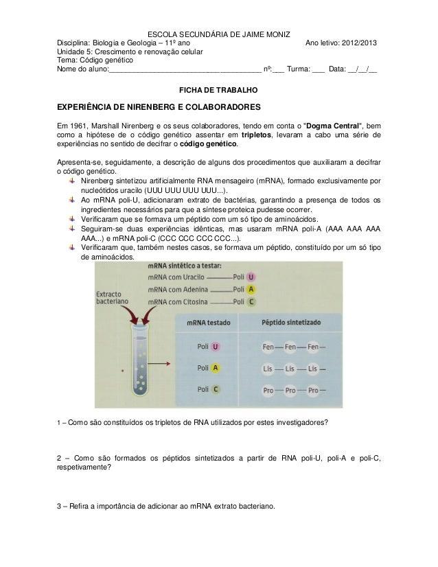 ESCOLA SECUNDÁRIA DE JAIME MONIZDisciplina: Biologia e Geologia – 11º ano                      Ano letivo: 2012/2013Unidad...
