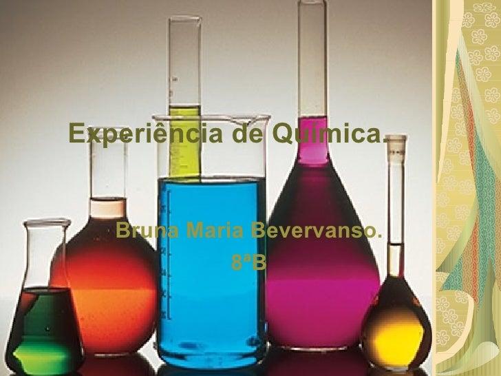 Experiência de Química. Bruna Maria Bevervanso. 8ªB