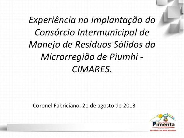 Experiência na implantação do Consórcio Intermunicipal de Manejo de Resíduos Sólidos da Microrregião de Piumhi - CIMARES. ...