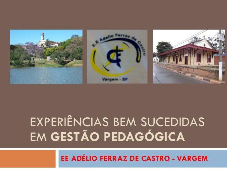 EXPERIÊNCIAS BEM SUCEDIDAS EM  GESTÃO PEDAGÓGICA EE ADÉLIO FERRAZ DE CASTRO - VARGEM