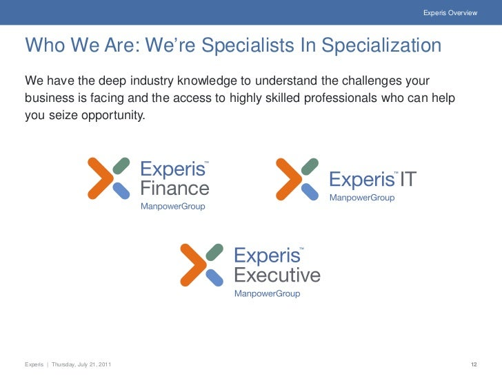 Experis OverviewWho We Are: We're Specialists In SpecializationWe have the deep industry knowledge to understand the chall...