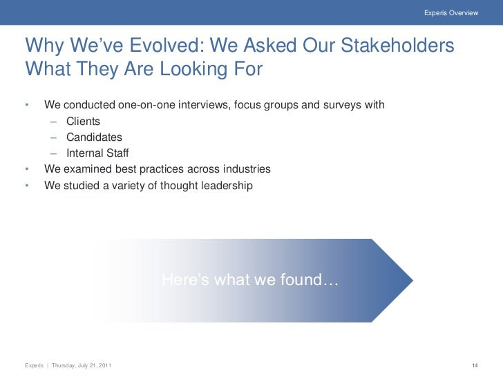 Experis OverviewWhy We've Evolved: We Asked Our StakeholdersWhat They Are Looking For•      We conducted one-on-one interv...