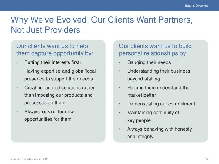 Experis OverviewWhy We've Evolved: Our Clients Want Partners,Not Just Providers    Our clients want us to help            ...