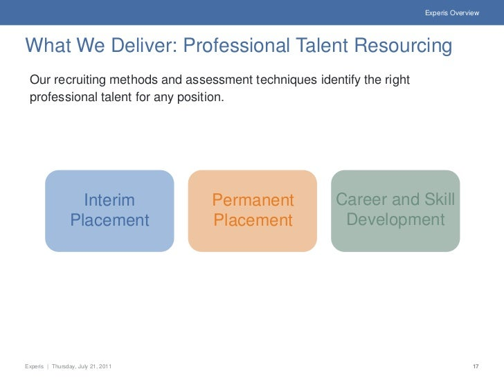 Experis OverviewWhat We Deliver: Professional Talent Resourcing Our recruiting methods and assessment techniques identify ...