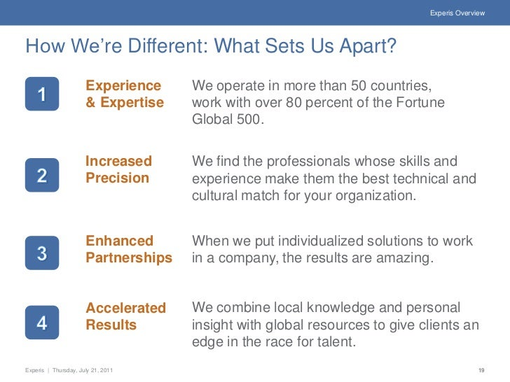 Experis OverviewHow We're Different: What Sets Us Apart?                      Experience     We operate in more than 50 co...