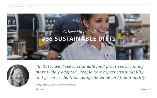CONSUMER TRENDS IN 2017 Tweet Amy Fetzer, sustainability consultant #2 PEOPLE PARTICIPATION#36 SUSTAINABLE DIETS Citizensh...
