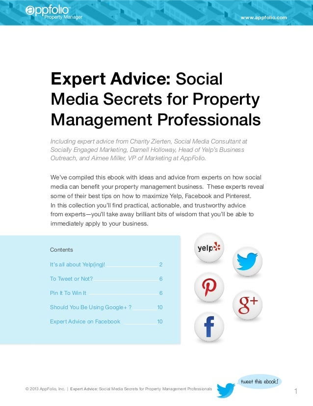 www.appfolio.com  Expert Advice: Social Media Secrets for Property Management Professionals Including expert advice from C...