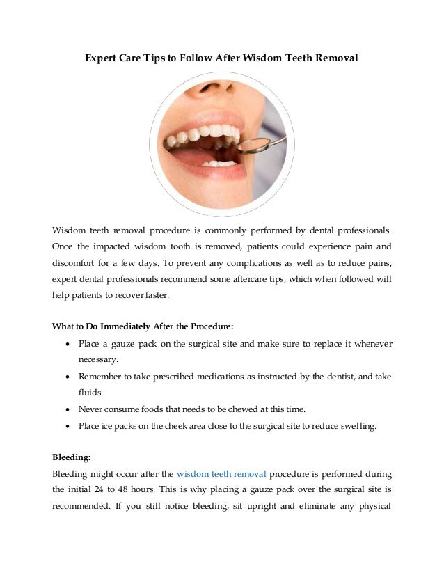 Expert Care Tips To Follow After Wisdom Teeth Removal