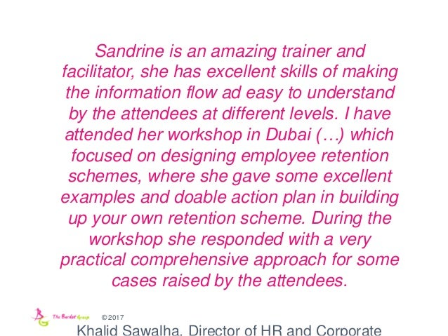 © 2017 Sandrine is an amazing trainer and facilitator, she has excellent skills of making the information flow ad easy to ...