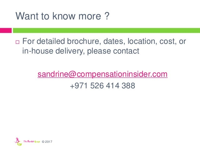 Want to know more ?  For detailed brochure, dates, location, cost, or in-house delivery, please contact sandrine@compensa...