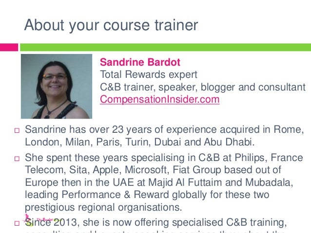 About your course trainer  Sandrine has over 23 years of experience acquired in Rome, London, Milan, Paris, Turin, Dubai ...
