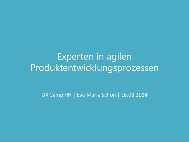 Experten in agilen Produktentwicklungsprozessen UX Camp HH | Eva-Maria Schön | 16.08.2014