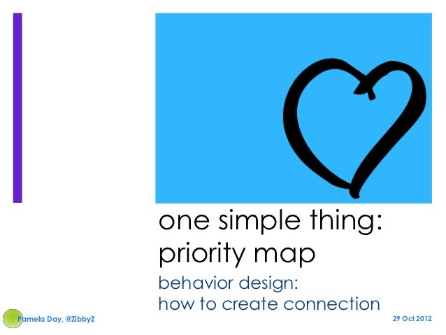 one simple thing:                      priority map                      behavior design:                      how to crea...