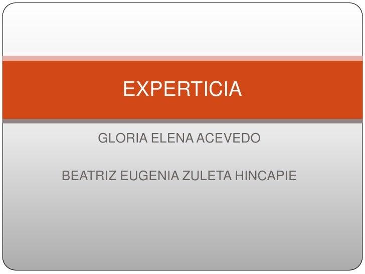GLORIA ELENA ACEVEDO<br />BEATRIZ EUGENIA ZULETA HINCAPIE<br />EXPERTICIA<br />