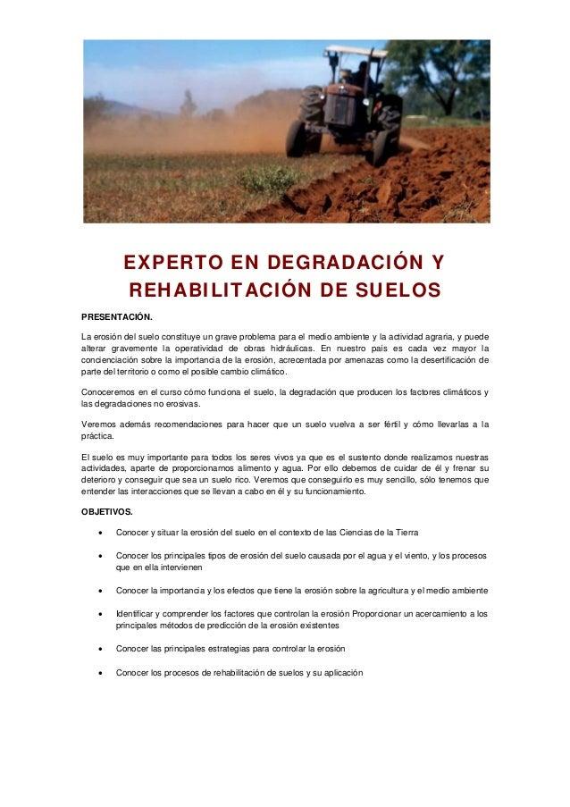 EXPERTO EN DEGRADACIÓN Y REHABILITACIÓN DE SUELOS PRESENTACIÓN. La erosión del suelo constituye un grave problema para el ...