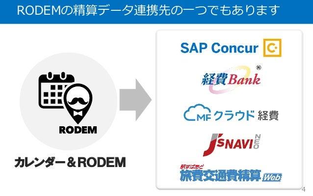 RODEMの精算データ連携先の⼀つでもあります 4 カレンダー&RODEM