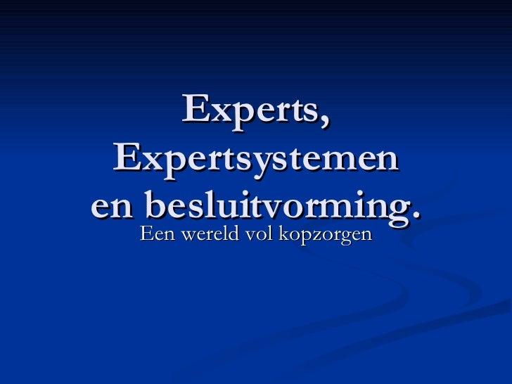 Experts, Expertsystemen en besluitvorming. Een wereld vol kopzorgen