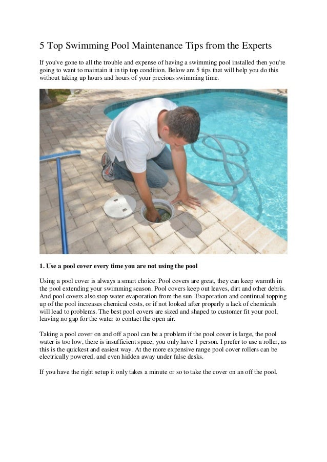 Experts 5 Top Swimming Pool Maintenance Tips