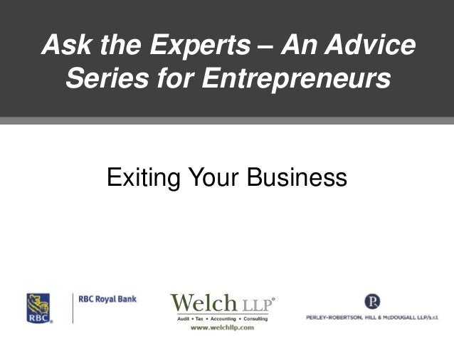 Ask the Experts – An Advice Series for Entrepreneurs  Exiting Your Business