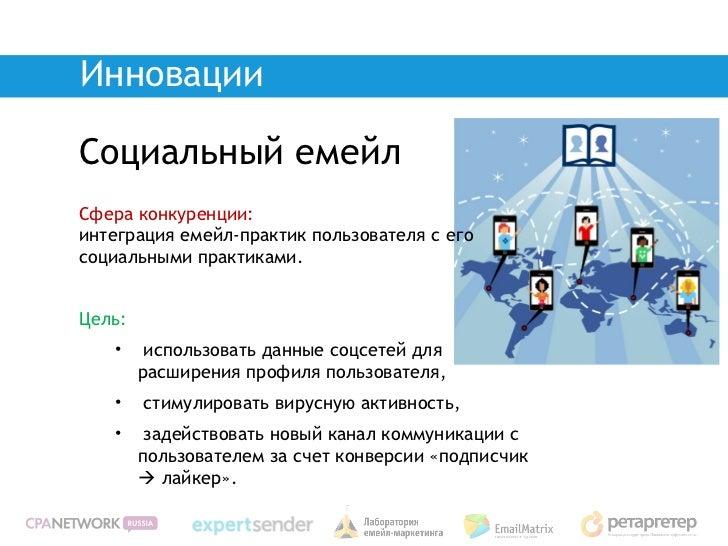 ИнновацииСоциальный емейлСфера конкуренции:интеграция емейл-практик пользователя с егосоциальными практиками.Цель:   •    ...