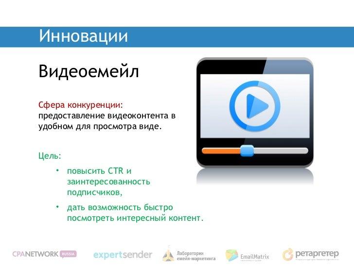 ИнновацииВидеоемейлСфера конкуренции:предоставление видеоконтента вудобном для просмотра виде.Цель:   • повысить CTR и    ...