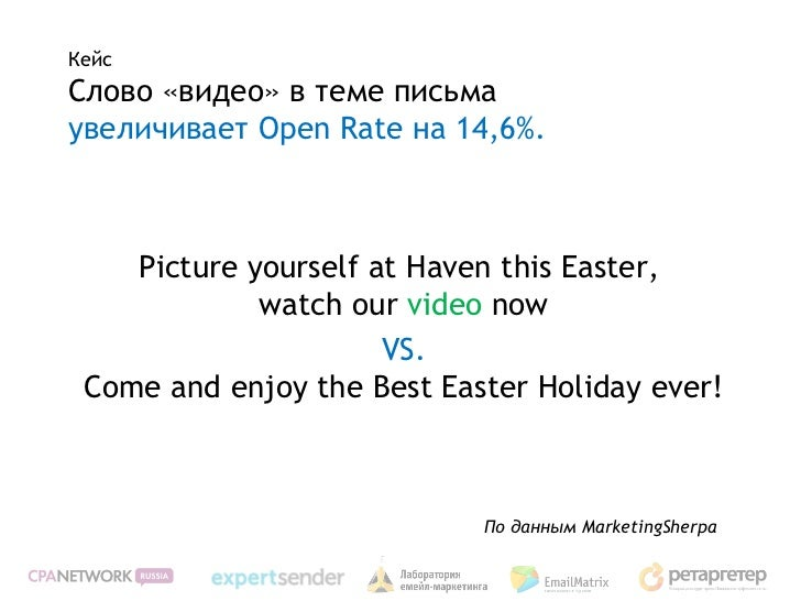 КейсСлово «видео» в теме письмаувеличивает Open Rate на 14,6%.    Picture yourself at Haven this Easter,             watch...