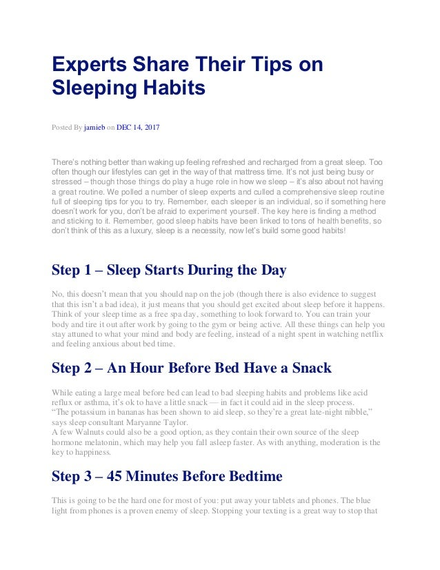 Experts Share Their Tips on Sleeping Habits Posted By jamieb on DEC 14, 2017 There's nothing better than waking up feeling...