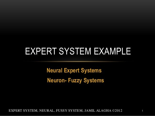 EXPERT SYSTEM EXAMPLE Neural Expert Systems Neuron- Fuzzy Systems  EXPERT SYSTEM, NEURAL, FUSSY SYSTEM, JAMIL ALAGHA ©2012...