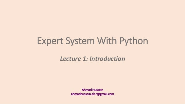 Expert System With Python -1