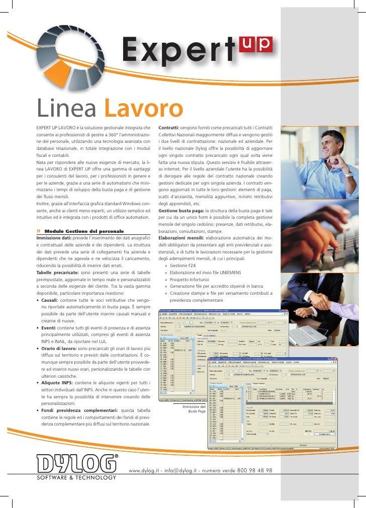 Exper t Linea Lavoro EXPERT UP LAVORO è la soluzione gestionale integrata che           Contratti: vengono forniti come pr...