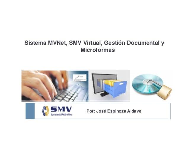 Sistema MVNet, SMV Virtual, Gestión Documental y, , y Microformas Por: José Espinoza Aldave