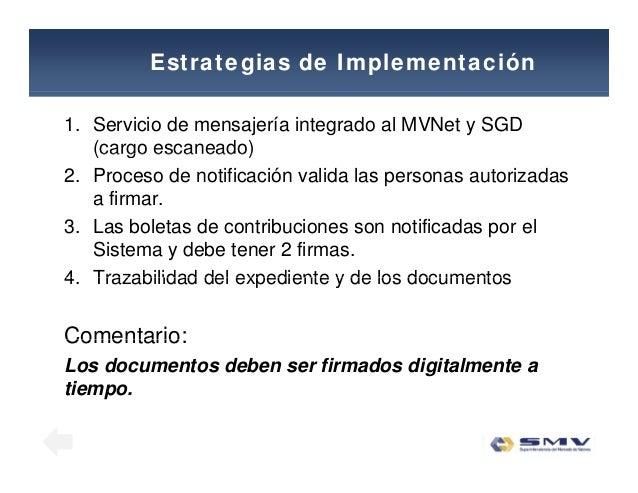 Estrategias de Implementación 1. Servicio de mensajería integrado al MVNet y SGD (cargo escaneado)(cargo escaneado) 2. Pro...