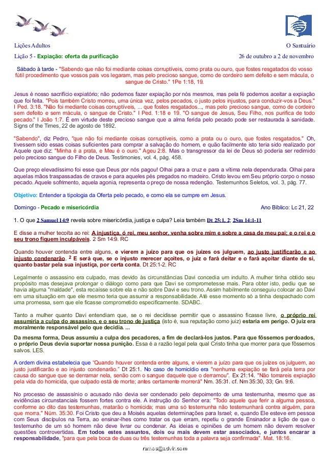 """Lições Adultos  O Santuário  Lição 5 - Expiação: oferta da purificação  26 de outubro a 2 de novembro  Sábado à tarde - """"S..."""