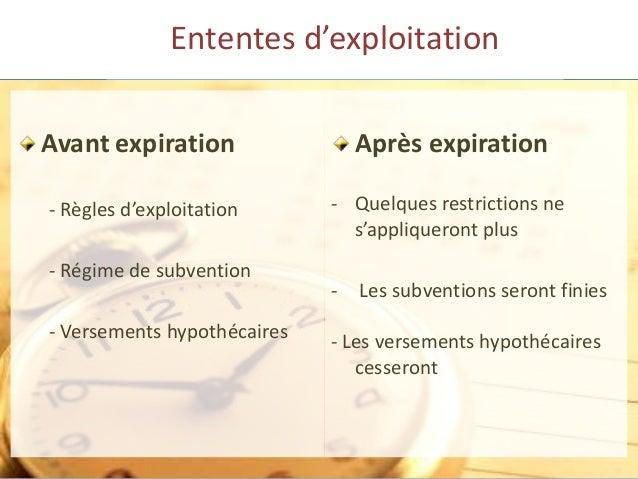 Ententes d'exploitation Avant expiration - Règles d'exploitation - Régime de subvention - Versements hypothécaires Après e...