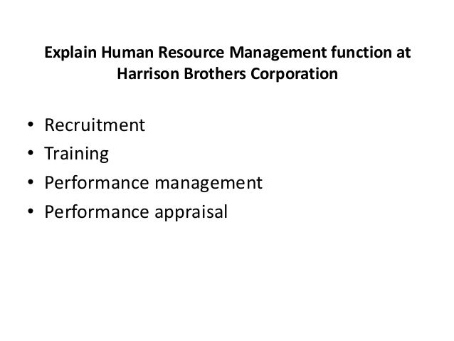 The human resource function of harrison