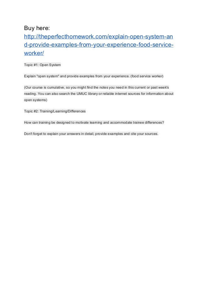 Explain Open System And Provide Examples From Your Experience Foo