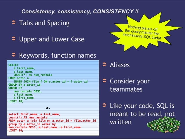 Consistency, consistency, CONSISTENCY !!➲ Tabs and Spacing➲ Upper and Lower Case➲ Keywords, function namesNothing pisses o...
