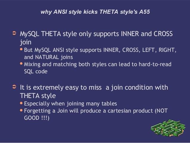 why ANSI style kicks THETA styles A55➲ MySQL THETA style only supports INNER and CROSSjoinBut MySQL ANSI style supports I...