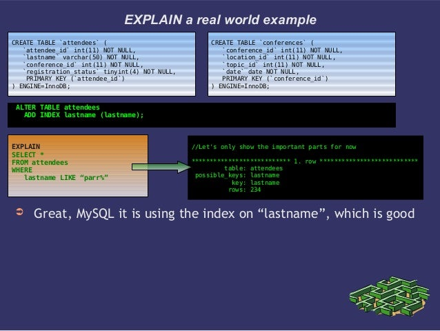 """EXPLAIN a real world example➲ Great, MySQL it is using the index on """"lastname"""", which is goodCREATE TABLE `attendees` (`at..."""