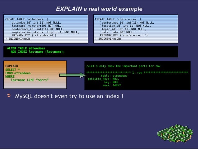 EXPLAIN a real world example➲ MySQL doesnt even try to use an index !CREATE TABLE `attendees` (`attendee_id` int(11) NOT N...
