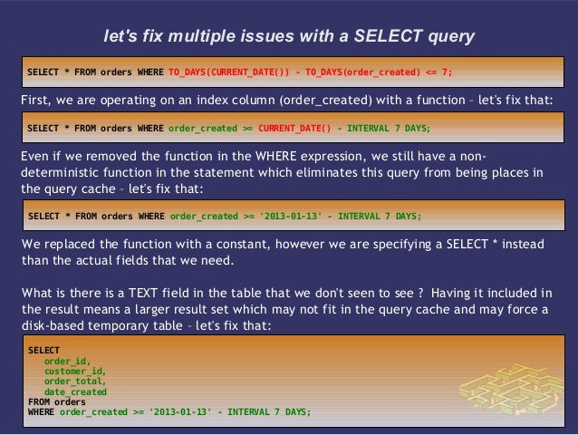 lets fix multiple issues with a SELECT queryFirst, we are operating on an index column (order_created) with a function – l...