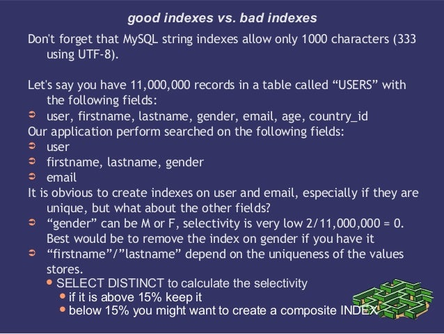 good indexes vs. bad indexesDont forget that MySQL string indexes allow only 1000 characters (333using UTF-8).Lets say you...