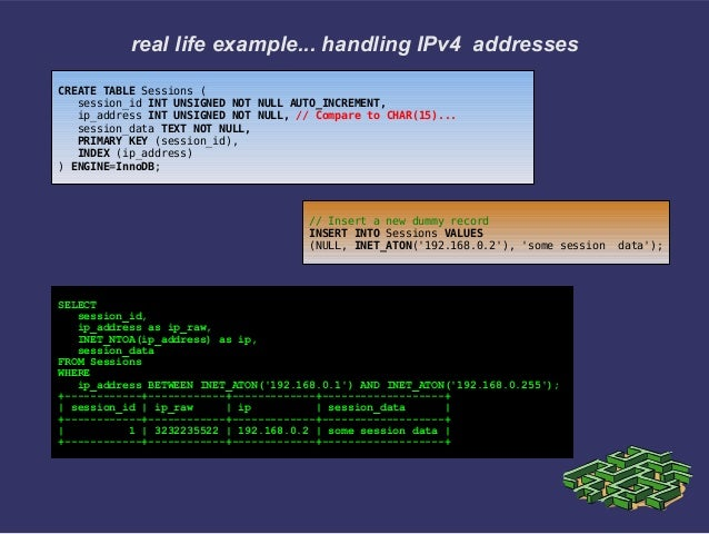 real life example... handling IPv4 addressesCREATE TABLE Sessions (session_id INT UNSIGNED NOT NULL AUTO_INCREMENT,ip_addr...